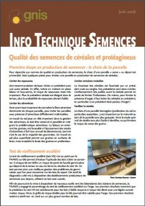info technique semences céréales et protéagineux